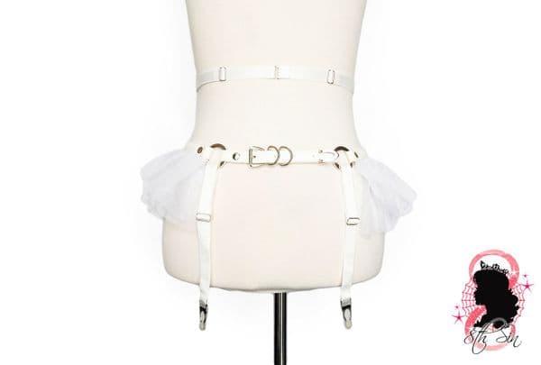 White Faux Leather Corset Lacing Garter Belt